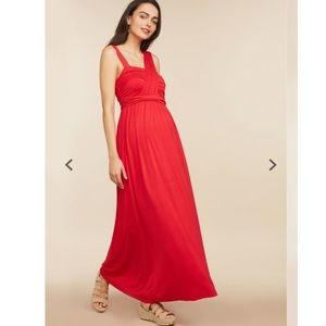 Cross Front Red Maxi Dress